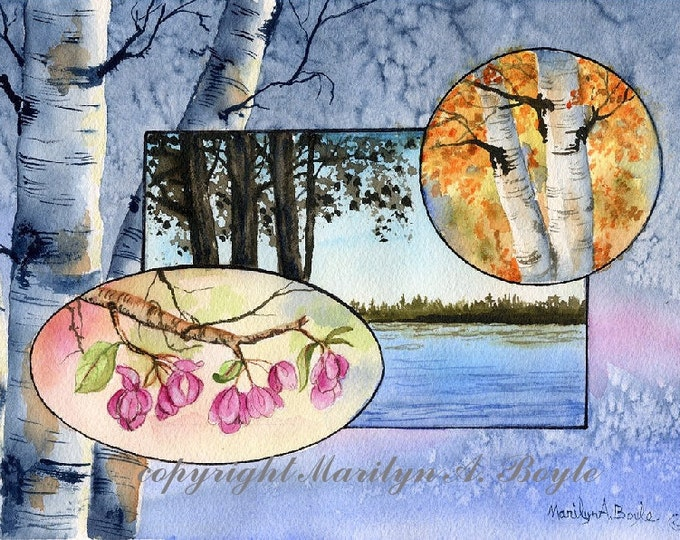 FOUR SEASONS PAINTING; original watercolors, nature, wall art, Canadian art, collage drawn right into the watercolor