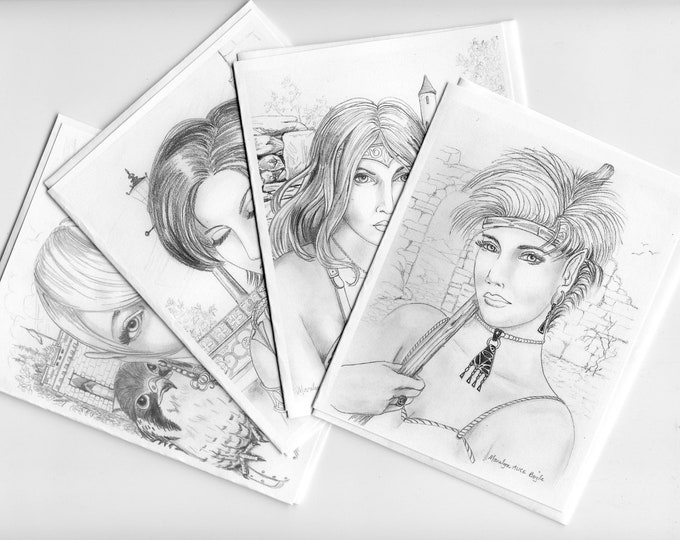 FANTASY-WARRIOR MAIDS; set of four cards, 4 x 5.25 inches, blank cards, graphite drawings, from original art