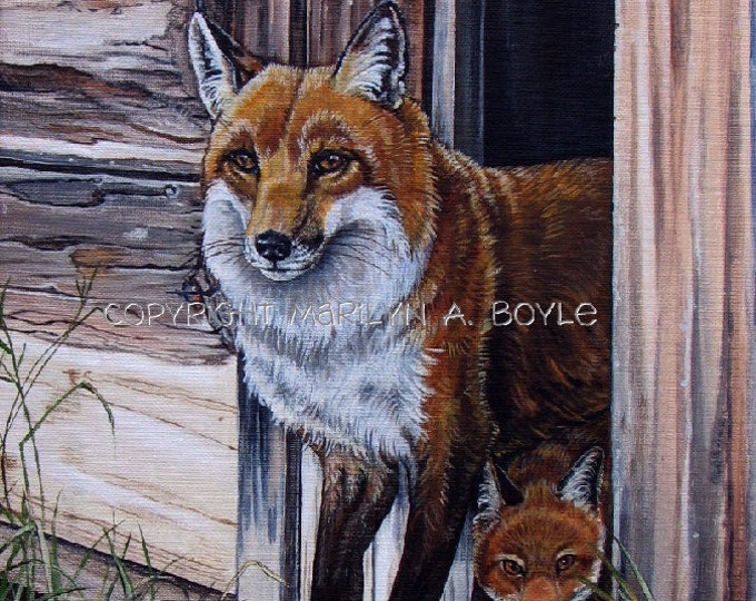 ORIGINAL ACRYLIC PAINTING, fox and kit, free shipping, wildlife, nature,12x16 inch, Canadian art, wall art,