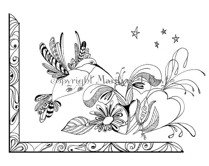 ADULT COLORING PAGE; digital dowload, hummingbird, flowers, Zentangle, doodle, original art, pen and ink,