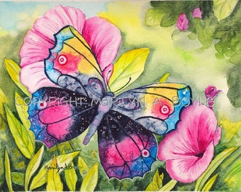 PRINT - BUTTERFLY MAGIC;  print of one of my watercolor originals, wall art, colorful, flowers, garden