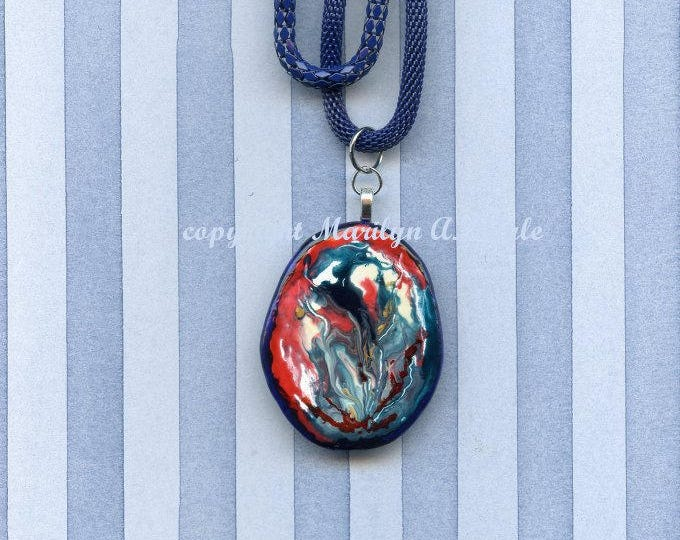 HAND PAINTED STONE, Jewelry,natural stone pendant, poured enamel artist's paint, double strand dark blue chain, 20 inches, one of a kind