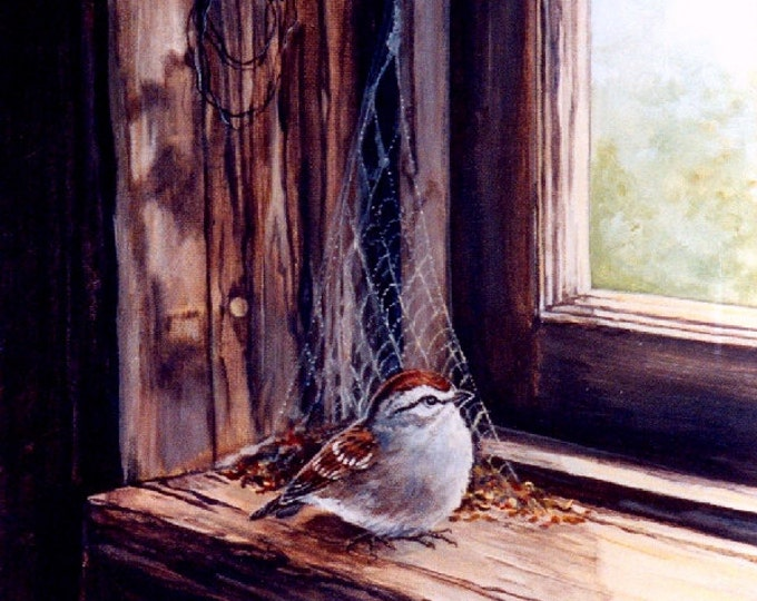 GICLEE PRINT SPARROW; chipping sparrow, old windowsill, window, nature, wall art, 8 x 10 inches, Canada, wings, feathers, bird,