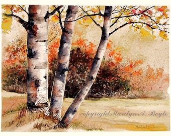 ORIGINAL WATERCOLOR -AUTUMN; fall scene, wall art, Canadian art, autumn colors,