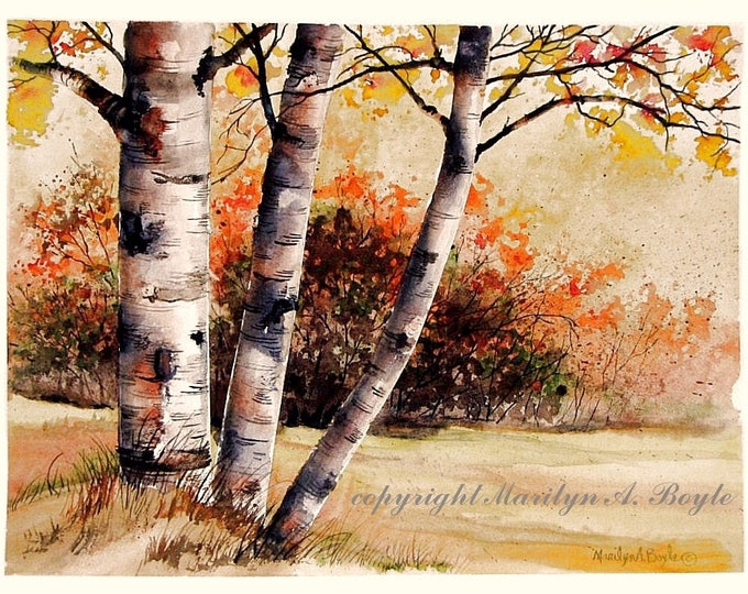 ORIGINAL WATERCOLOR -AUTUMN; fall scene, wall art, Canadian art, autumn colors,