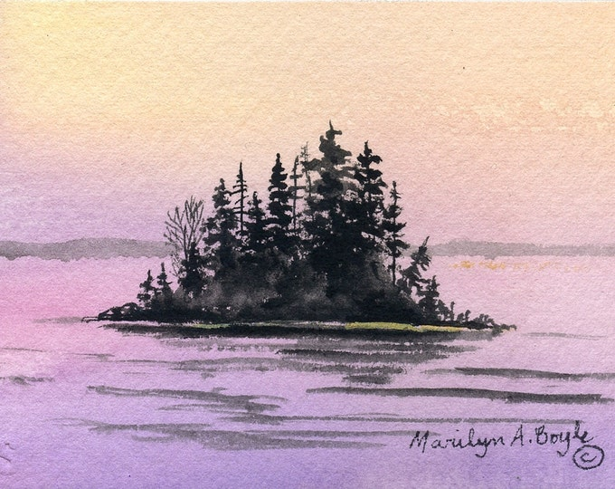 ORIGINAL ACEO CARD - Sunrise; scene, island, lake, acrylic on 140 lb watercolor paper, 2.5 x 3.5 inches, miniature painting, watercolor