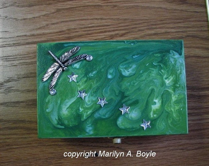 HAND PAINTED BOX; paint pour lid, treasure and jewelry box, painted inside and out, metal dragonfly, star rhinestones,