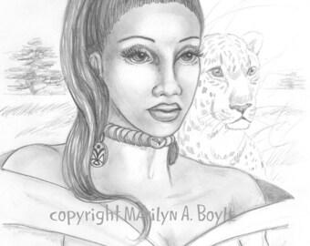 ORIGINAL- FANTASY- DRAWING; woman, Africa, veld, leopard, nature, pencil drawing, original art, plains, character portrait, wall art,