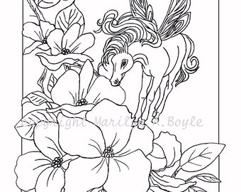 ADULT COLORING PAGE - Digital download, Fantasy; little fairy horse, flowers, garden, adult coloring page, originla art,