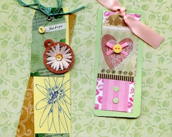 GIFT TAGS - HAND Made; layered, buttons, 3-D,  for you, one of a kind, for birthday or any occasion.