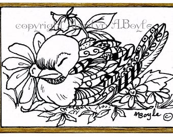 ORIGINAL ZENTANGLE ACEO card; bird, flowers, 2.50 x 3.50, artist's trading card, buy, sell, trade, coloring card, pen and ink, collectible,