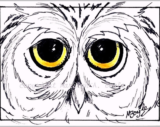 ACEO Card - Original  PEN & INK of owl with colored eyes, predator, coloring card, wings, feathers, night hunter, wildlife, miniature art
