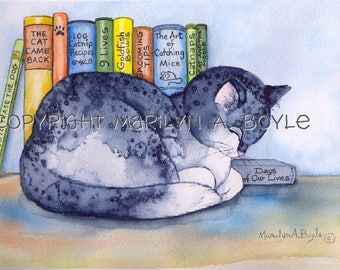 ORIGINAL WATERCOLOR- CAT and Books; free shipping, sleeping cat, books with titles, wall art, children's room, 11 x 14 inches matted