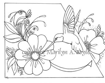 ADULT COLORING PAGE; digital download, hummingbird, flowers, garden, wings, feathers,