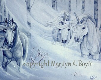 PRINT - FANTASY - UNICORNS: snowstorm, winter, snowing, three unicorns.blizzard,