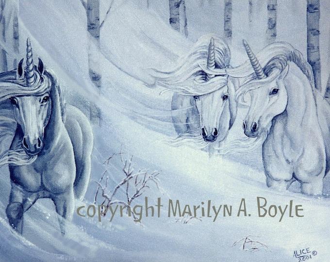 PRINT - FANTASY - UNICORNS: snowstorm, winter, snowing, three unicorns.blizzard,