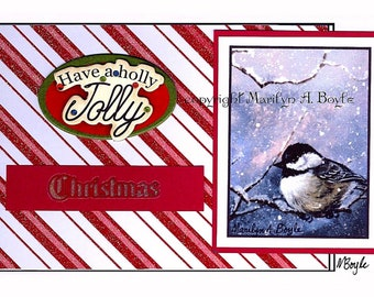 CHRISTMAS ACEO CARD; collage 2.50 x 2.50 inches,from my original chickadee, snowing, have a holly jolly Christmas, 110 lb card stock