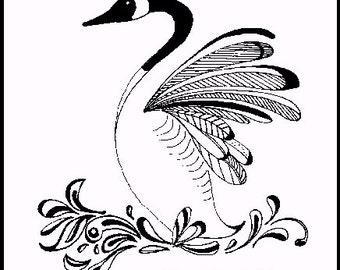 PRINT - INK DRAWING - Canada Goose. wings, feathers, lake, display, bird, wildlife, dance, art, Canadian