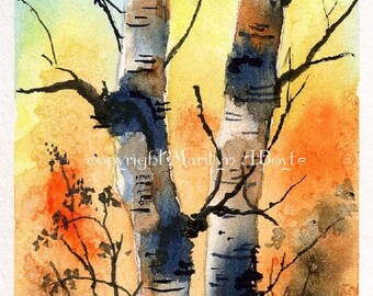 ACEO WATERCOLOR BIRCHES; 2.5 x 3.5 inch card, painted on 140 lb watercolor paper, birches in autumn, fall colors, nature, miniature art