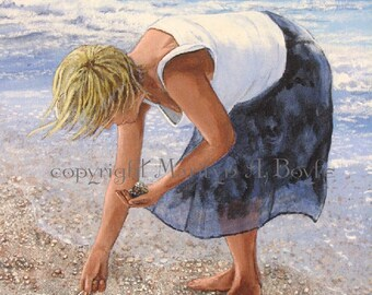 THE SEASHELL PICKER; orignal acrylic painting on wrap around gallery canvas, 22 x 24 inches,