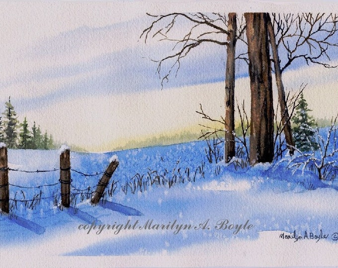 ORIGINAL WATERCOLOR PAINTING; Landscape; winter, field, snow, blue, yellow, trees. fence posts, scene, wall art, 7 x 10.50 inches