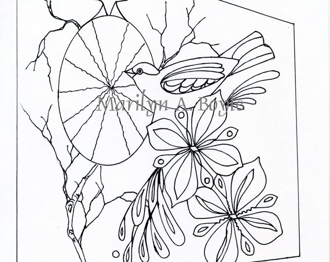 COLORING PAGE BIRD; flowers, digital download, from an original drawing, for adults and an older child