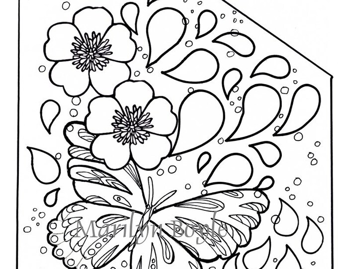 COLORING PAGE BUTTERFLY, raindrops, garden, flowers, for adults and older child, from original art