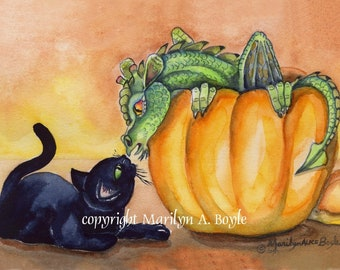 BLACK KITTEN and DRAGON print, from my own original watercolor painting, wall art, Halloween,
