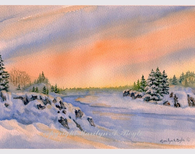 ORIGINAL WATERCOLOR SCENE;  winter landscape, sunrise, wall art, original art, peach, blue color, Canadian art