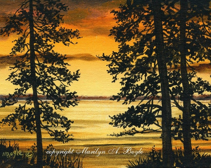ORIGINAL MINIATURE ART; 5 X 7 inch on canvasboard, original art, wall art, Canadian scene, sunset on the lake, trees,