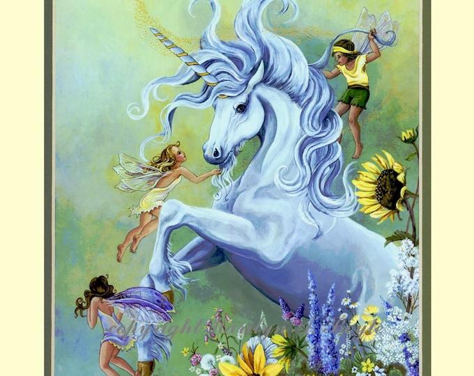 MATTED GICLEE PRINT; wall art, fantasy, fairies and unicorn, flowers, garden, double matted, 11 x 14 inch cream mat, green inner mat