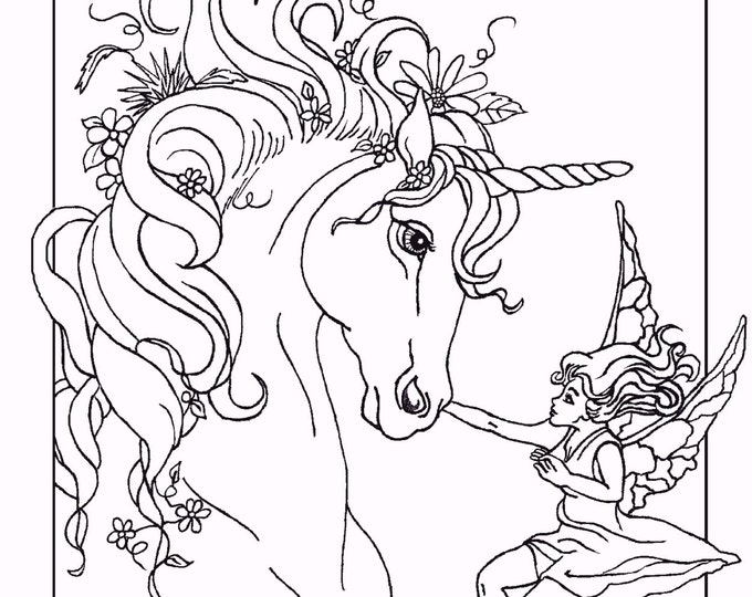 COLORING BOOK of five PAGES, fantasy, unicorns, fairy horse, unicorn foal, fairy, original art,