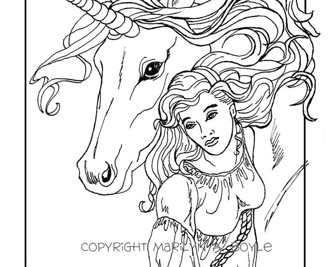 ADULT COLORING PAGE; digital download, maiden and unicorn,