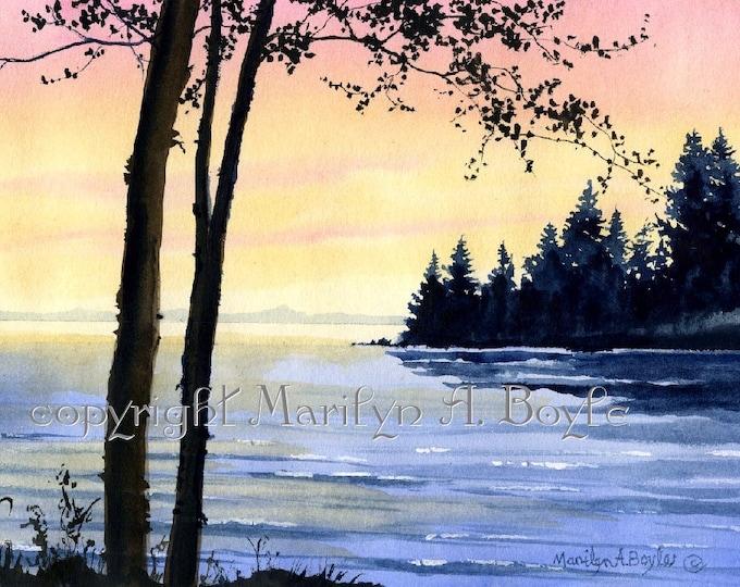 ORIGINAL WATERCOLOR SCENE; Sunrise on the lakes, Canadian art, wall art, trees, shoreline, original art, 5.75 x 8 inches