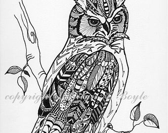 ORIGINAL PEN & INK; Zentangle, doodle, Great Horned Owl, bird of prey, nature, wildlife, wall art 8.5 x 11 inches, miniature art