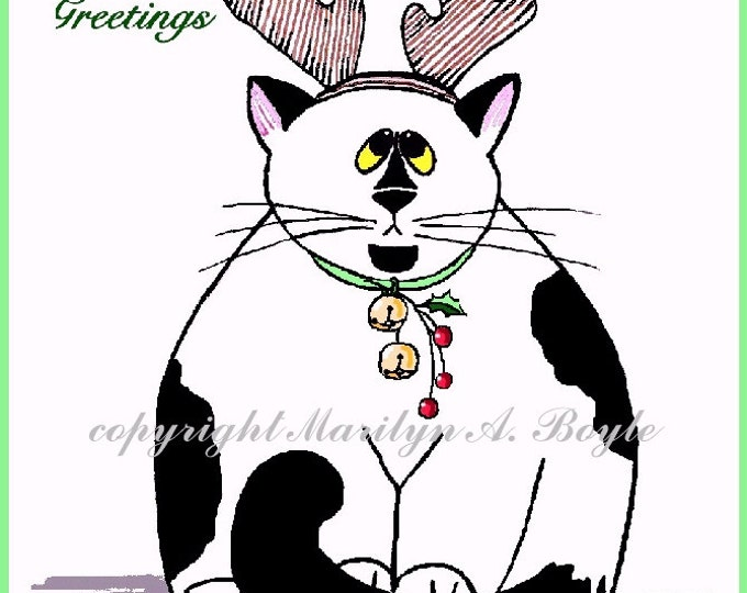 CARDS - FAT CATS Christmas, holidays, blank cards, 4 x 5 with envelopes, art, black tuxedo, black and white, white, grey tabby