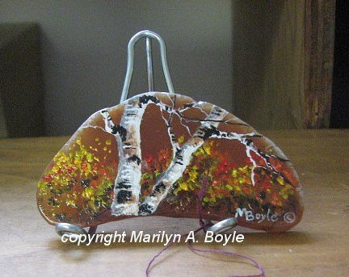 HAND PAINTED AGATE; small deep amber agate on metal stand, autumn, birches, one of a kind, unique, acrylic, shelf art