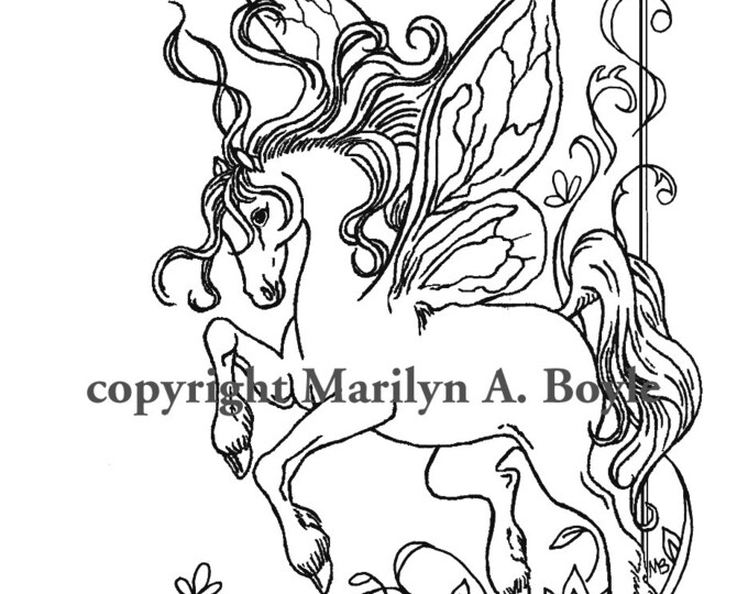 ADULT COLORING PAGE; digital download, fairy horse, doodle, pen and ink, from an original drawing, fantasy