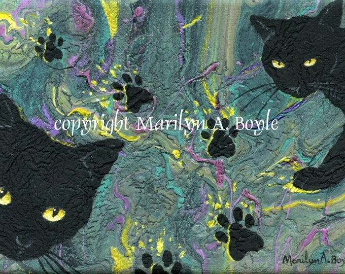 ORIGINAL ACRYLIC PAINTING; 5 x 7 inch paint pour hand painted with cats and prints, wall art, Canadian art,  domestic cats,