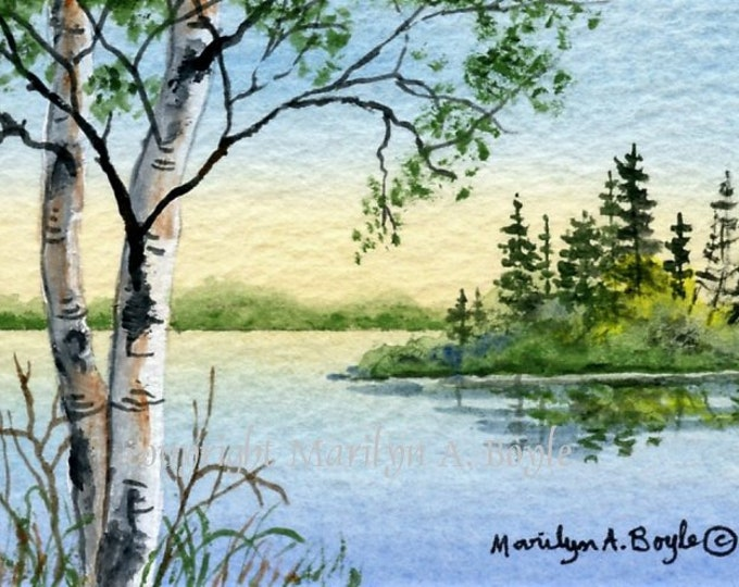 ORIGINAL ACEO CARD;  acrylic painting, 2.50 x 3.50 inches on 140lb watercolor paper, nature, scene, lake, island and birches, Canadian art