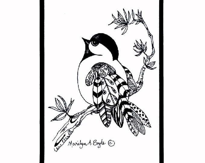 ORIGINAL DRAWING INK; doodle, chickadee, feathers, wings, nature, bird, realistic, wall art, miniature, Canadian art, 8 x 10 inches matted