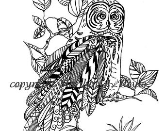ADULT COLORING PAGE; great gray owl, wilderness, nature, bird of prey, Zentangle, doodle, for anyone, digital download