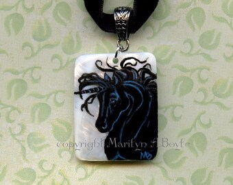 MOTHER OF PEARL Hand Painted Pendant; black velvet choker ribbon,black unicorn, jewelry, necklace, wearable art, original art,