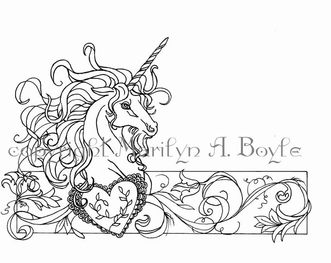 COLORING PAGE - UNICORN; Valentines Day, fantasy, digital download, heart and flourishes, pen and ink, from original art work,