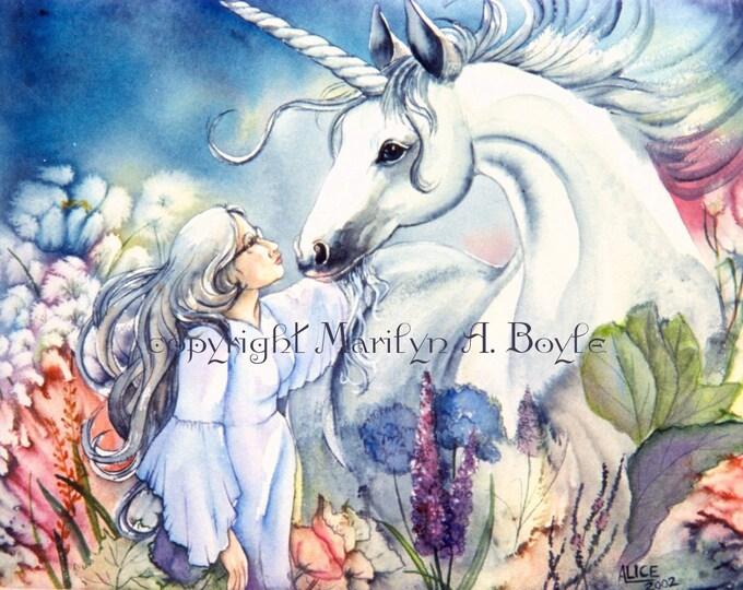FANTASY - ORIGINAL WATERCOLOR; free shipping for Christmas, Unicorn, lady, dreamweaver, garden, flowers, grey hair, 13 x 17 image size