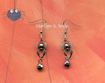 HALLOWEEN - SPIDER EARRINGS; tiny pewter spiders, holding a little silver bead, shepherd hooks, drop earrings