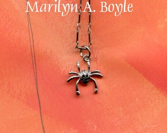 HALLOWEEN SPIDER PENDANT; tiny spider with tiny black gems on body, delicate chain, 14 inches, choker,