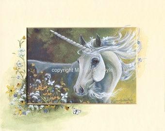 ENHANCED MATTED PRINT; Fantasy, flowers, white butterflies, wall art, 8 x 10 inch mat, Summer Song, Unicorn,