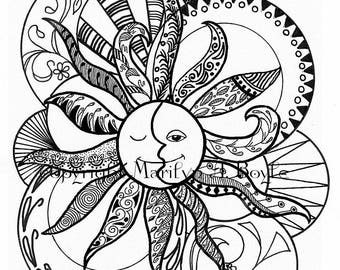 ADULT COLORING PAGE; Zentangle, digital download, sun and moon, pen and ink, from an original drawing