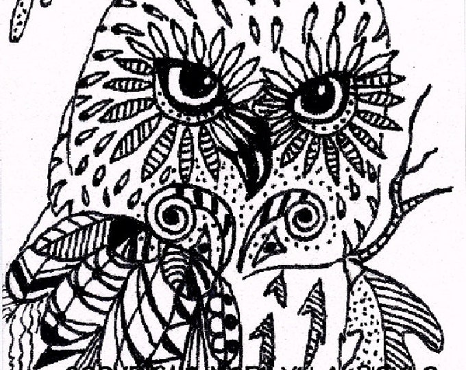 ORIGINAL Pen and Ink ACEO CARD; Zentangle ( doodle ) owl, card has rounded corners, nature, miniature art, on 110 lb card stock